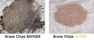 brass chips before and after service