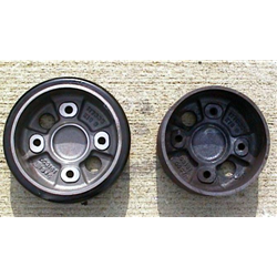 Rubber Wheels Before and After Cleaning