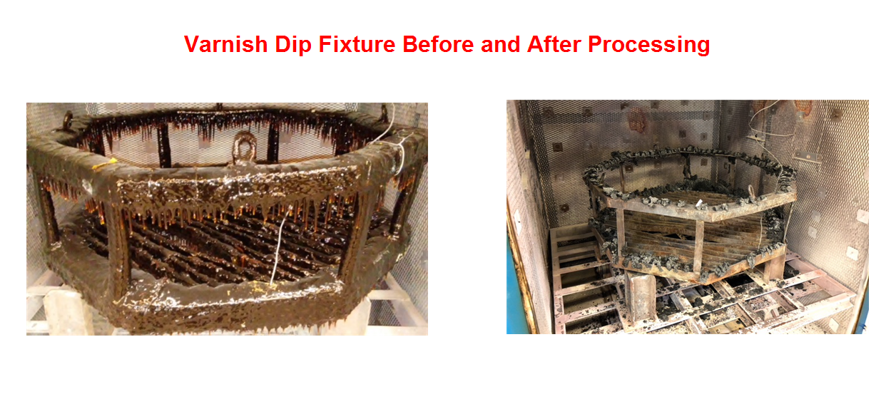 Varnish Dip Fixture Before and After Processing